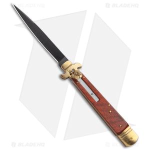 "SKM 9.75"" Slimline Leverlock Automatic Knife Rosewood  (4.25"" Black)"