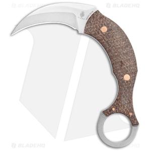 "Kizer Tiger Claw Karambit Fixed Blade Knife Brown Micarta (1.4"" SW) 1041"