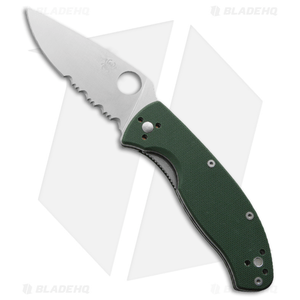 "Spyderco Tenacious Folding Knife Green G-10 (3.375"" Satin Serr) C122GPSGR"