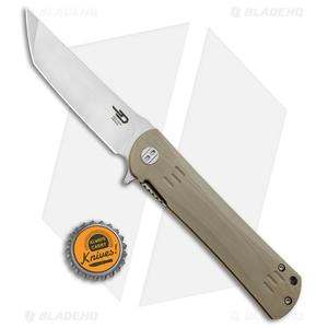 "Bestech Knives Kendo Tanto Liner Lock Knife Tan G-10 (3.75"" Satin)"