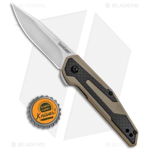"Kershaw Anso Fraxion Liner Lock Knife CF/Tan G-10 (2.75"" Stonewash) 1160TAN"
