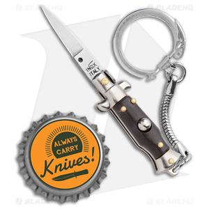 """SKM 2.75"""" Keychain Stiletto Automatic Knife Brown (1.2"""" Satin Flat)"""