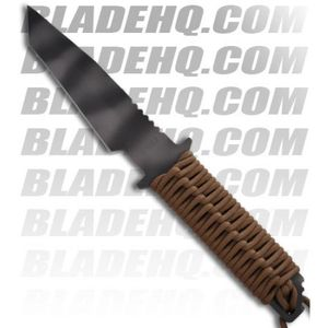 Strider Knives WB MOD 10 Tanto Fixed Blade Knife w/ Tan Cord Wrapped (Tiger PLN)