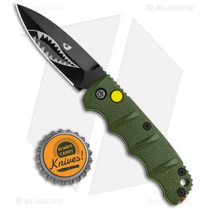 """Boker Mini Warhawk Kalashnikov Dagger Automatic Knife Green (2.5"""" Black D2)"""