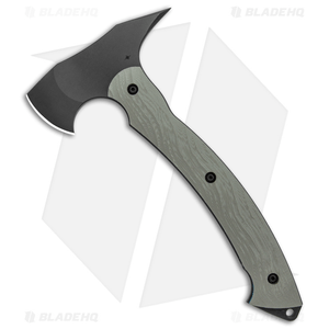 """Toor Knives 11"""" Tomahawk Stealth Gray G-10/Blue Liners (1.75"""" Black)"""
