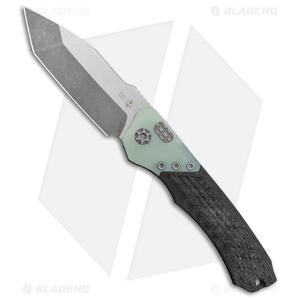 "Heretic Knives Wraith Automatic Knife Integral CF/Jade G-10 (3.625"" Stonewash)"
