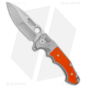 "Andre de Villiers Mini Pitboss Button Lock Knife 2 G-10 Orange (3.9"" Bead Blast)"