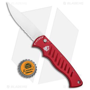 "Piranha Red P-1 Pocket Automatic Knife (3.2"" Mirror Serr)"