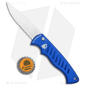 "Piranha Blue P-1 Pocket Automatic Knife (3.2"" Mirror Serr)"
