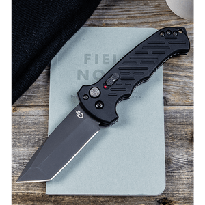 "Gerber Auto 06 Tanto Automatic Knife Black Aluminum (3.7"" Black)"