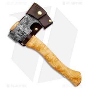 "Hoffman Blacksmithing 12"" Bearded Hatchet Axe  w/ Flame  Maple Handle - Natural"