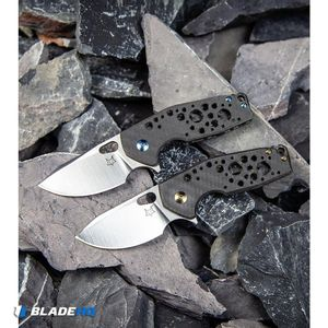 "Fox Knives Vox Suru Flipper Knife Carbon Fiber Blue Hardware (2.3"" Satin M390)"