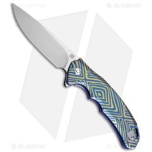 "Artisan Cutlery Tradition Frame Lock Knife Blue/Gold Titanium (4"" Stonewash)"