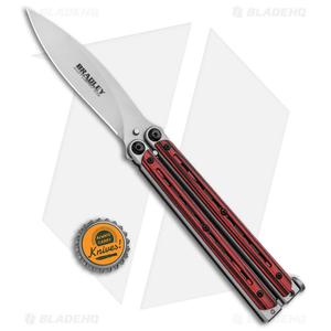 "Bradley Kimura Butterfly Balisong Knife Black/Red G-10 (3.9""  Bead Blast)"