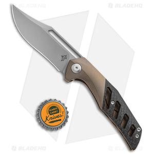 "APurvis Blades Primordial Knife Bronze Ti/Carbon Fiber (3.25"" Bead Blast)"