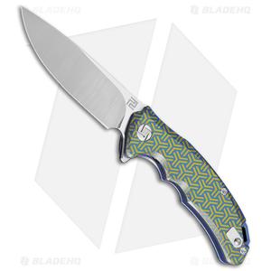 Artisan Cutlery Tradition Frame Lock Knife Geometric Gold/Blue Ti (3.8 SW)