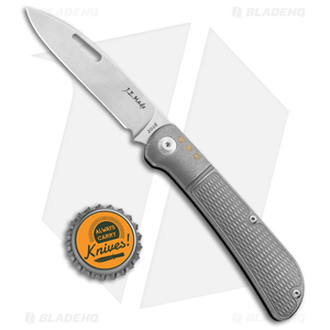 "J.E. Made Zulu Slip Joint Knife Checkered Ti w/Pocket Clip (3.15"" Stonewash)"