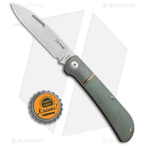 "J.E. Made Zulu Slip Joint Knife Checkered Green Ti (3.15"" Stonewash)"