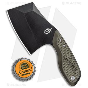 """Gerber Tri-Tip Mini Cleaver Fixed Blade Knife Green (2"""" Black)"""