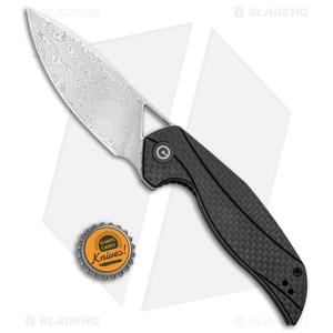 """CIVIVI Isham Anthropos Flipper Knife Black/Carbon Fiber (3.25"""" Damascus) C903DS"""