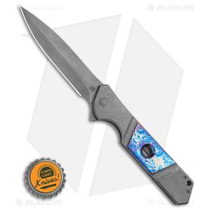"Olamic Cutlery Rainmaker Dagger Flipper Knife Entropic Blue/Ti (4.25"" Dark SW)"