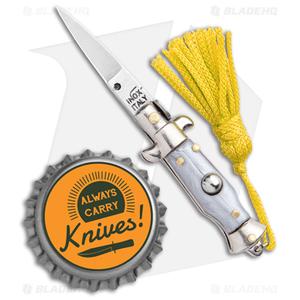 "SKM  Italian Stiletto Keychain Automatic Knife Silver/Yellow (1.125"" Satin)"