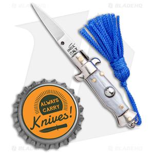 "SKM  Italian Stiletto Keychain Automatic Knife Silver/Blue (1.125"" Satin)"