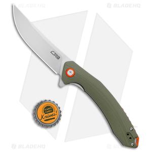 """CJRB Cutlery Gobi Liner Lock Knife OD Green G-10 (3.5"""" Stonewash)"""