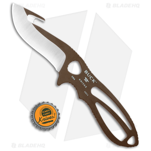 "Buck PakLite Large Skinner Guthook Fixed Blade Knife (3.5"" Satin) Brown 0141BRG"