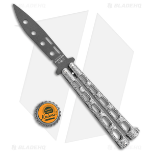 """Bear & Son 115TR Large Butterfly Knife Trainer Silver Vein (4"""" Black)"""
