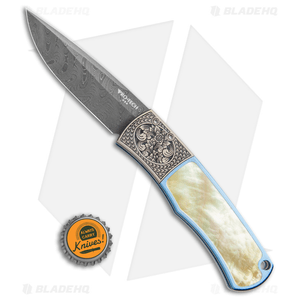 Pro-Tech Ultimate Custom BR-1 Titanium Automatic Knife Gold Lip Pearl (Damascus)