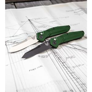 "Benchmade Osborne 9400 Automatic Knife Green Aluminum (3.4"" Black)"