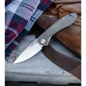 "CJRB Small Feldspar Liner Lock Knife Green Canvas Micarta (3"" Stonewash)"