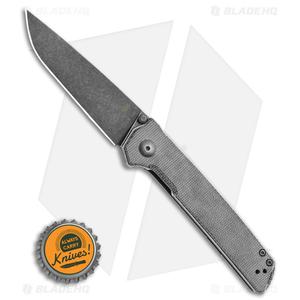 """Kizer Vanguard  Domin Liner Lock Knife Black Micarta (3.5"""" Black SW) V4516N5"""