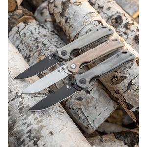 "Kizer Azo Vanguard Series Begleiter Knife Natural Micarta (3.5"" Stonewash  BD1N)"