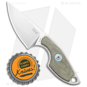 """MKM Voxnaes Mikro 1 Fixed Blade Knife Green Canvas Micarta (2"""" SW)"""