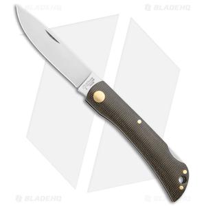 """Boker Rangebuster Lockback Knife Green Linen Micarta (3"""" Satin) 111914"""