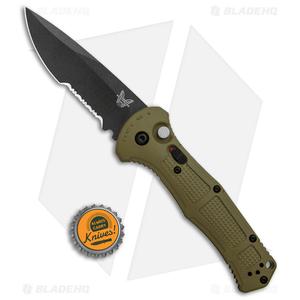 "Benchmade Claymore Auto Knife Ranger Green Grivory (3.6"" Black Serr) 9070SBK-1"
