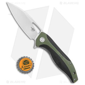 "Bestech Knives Komodo Liner Lock Knife Black / Green G-10 (3.5"" Satin) BG26A"