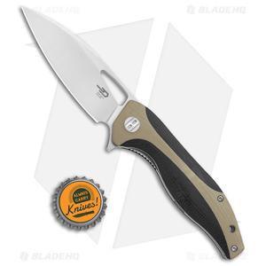 "Bestech Knives Komodo Liner Lock Knife Black / Tan G-10 (3.5"" Satin) BG26B"