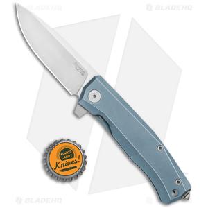 "LionSteel Myto Flipper Frame Lock Knife Blue Titanium (3.25"" Satin) MT01BL"