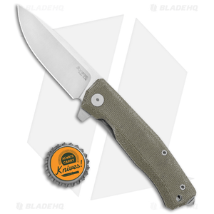 "LionSteel Myto Flipper Knife Green Canvas Micarta (3.25"" Satin) MT01CVG"