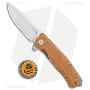 "LionSteel Myto Flipper Knife Natural Canvas Micarta (3.25"" Satin) MT01CVN"