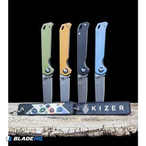 """Kizer Azo Vanguard Series Begleiter Knife Green G-10 (3.5"""" Gray) V4458N2"""