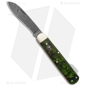 "Boker Hunting Knife Mono Lockback Knife Green Curly Birch (3.25"" Damascus)"