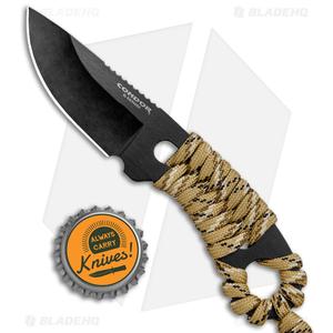 """Condor Carlitos Neck Knife Fixed Blade Desert Tan Paracord (2.5"""" Black)"""