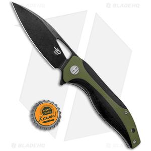 """Bestech Knives Komodo Liner Lock Knife Black / Green G-10 (3.5"""" Black) BG26C"""