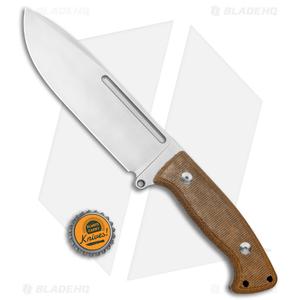 "PMP Knives Arctos Fixed Knife Natural Canvas Micarta (6.9"" Satin)"
