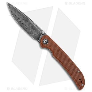 """CIVIVI Imperium Liner Lock Knife Brown Micarta (3.5"""" Damascus) C2107DS-1"""