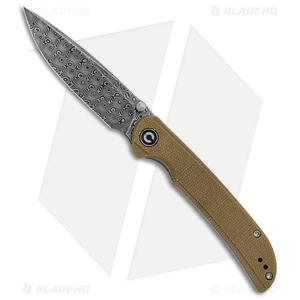 """CIVIVI Imperium Liner Lock Knife Olive Micarta (3.5"""" Damascus) C2107DS-2"""